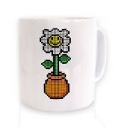 8-Bit Daisy ceramic coffee mug