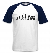 Evolution Of A Geeky Man (black detail) short-sleeved baseball t-shirt