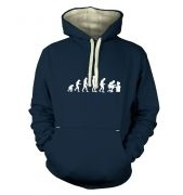 Evolution of a geeky man (white detail) premium hoodie