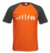 Evolution Of A Geeky Man (white detail) short-sleeved baseball t-shirt