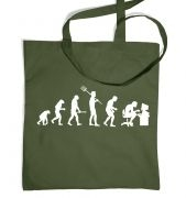 Evolution of a geeky man (white detail) tote bag