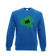 Green Bulbasaur Silhouette Adult Crewneck Sweatshirt