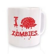 I brain zombies white mug