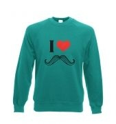 I heart moustache crew neck sweatshirt