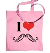 I heart moustache tote bag