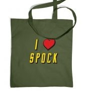 I heart  Spock tote bag
