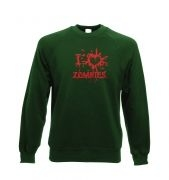 I heart Zombies Adult Crewneck Sweatshirt