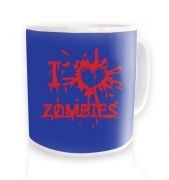 I heart zombies blue mug