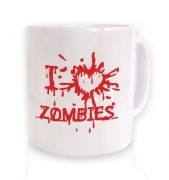 I heart zombies white mug