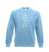 Keep Calm and don't blink Adult Crewneck Sweatshirt