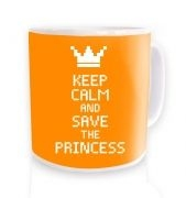 Keep Calm and Save The Princess (orange) ceramic coffee mug