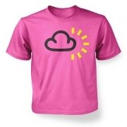 Kid's Weather Symbol Dark Clouds with Sun t-shirt