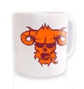 Orange Demon's Head ceramic coffee mug