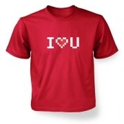 Pixelated I Heart U Kids T-shirt
