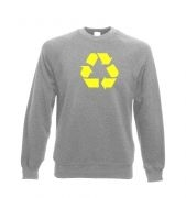 Yellow Recycling Symbol Adult Crewneck Sweatshirt