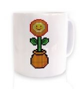 Red 8-Bit Flower ceramic coffee mug