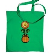 Red 8-Bit Flower tote bag
