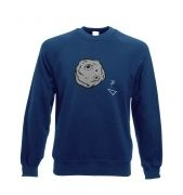 Retro 2D Arcade Spaceship v Real 3D Asteroid sweatshirt