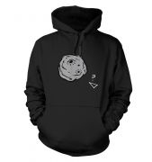 Retro 2D Arcade Spaceship v Real 3D Asteroid adults' hoodie