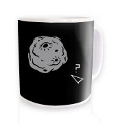 Retro 2D Arcade Spaceship v Real 3D Asteroid  mug