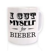 slogan I cut myself for bieber mug