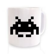 Alien Invader Pixel Art ceramic coffee mug