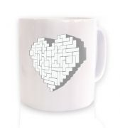 Shaped Brick Heart ceramic coffee mug