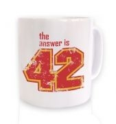 The Answer Is 42 ceramic coffee mug