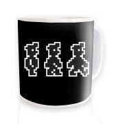 Walking Pixel Guy ceramic coffee mug