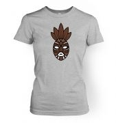 Brown Tribal Mask women's fitted t-shirt