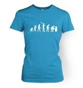 Women's Evolution of a geeky man (white detail) t-shirt