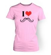 Women's I heart moustache t-shirt