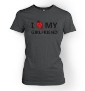 I real heart my girlfriend womens t-shirt