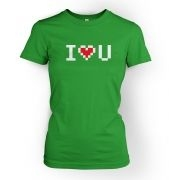 Women's pixelated I heart u t-shirt