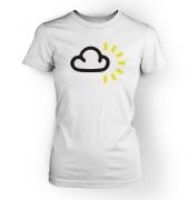 Weather Symbol Dark Clouds with Sun womens t-shirt