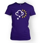 Weather Symbol Snow with Sun womens t-shirt