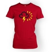 Weather Symbol Thunderstorms with Sun women's t-shirt