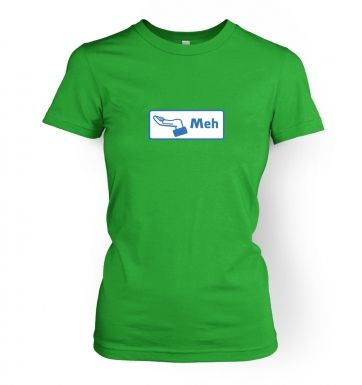 Meh Button   womens t-shirt