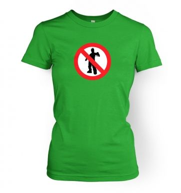 No Zombies Road Sign   womens t-shirt