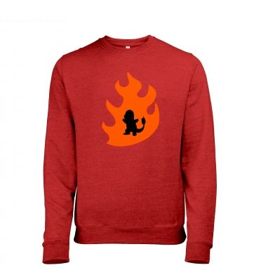 Orange Charmander Silhouette Mens Heather Sweatshirt
