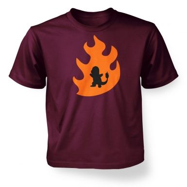Orange Charmander Silhouette kids t-shirt