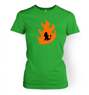 Orange Charmander Silhouette womens t-shirt