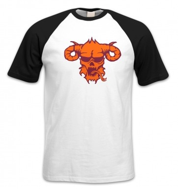 Orange Demon's Head short-sleeved baseball t-shirt