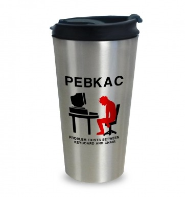 PEBKAC travel latte mug