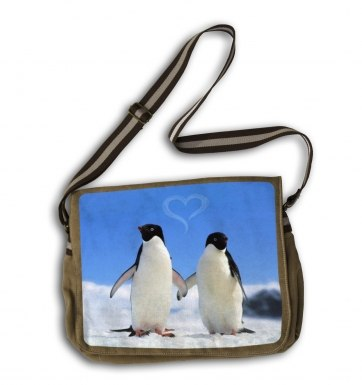 Penguins In Love messenger bag