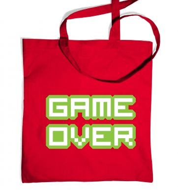 Pixelated Game Over tote bag