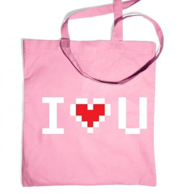 Pixelated I Heart U tote bag