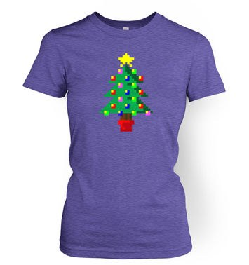 Pixellated Christmas Tree women's t-shirt