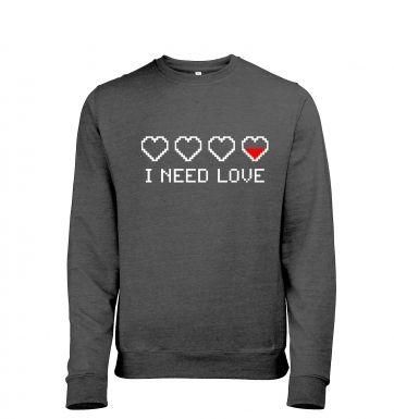 Pixellated I Need Love men's heather sweatshirt