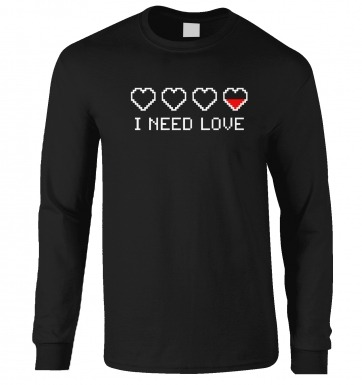 Pixellated I Need Love long-sleeved t-shirt